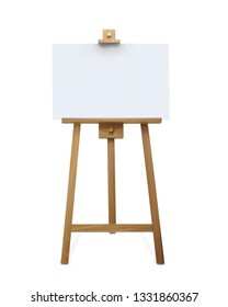Blank art board and wooden easel. Wooden Brown Easel with Mock Up Empty Blank Square Canvas isolated on white background