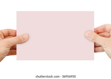 blank background. paper in hands isolated on white