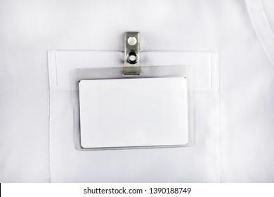 Blank Badge on the White Shirt Pocket closeup