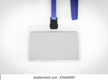 Blank bagde with blue ribbon. 3D Render