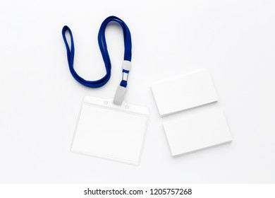 Blank bagde mockup isolated on white background. Nametag with  ribbon
