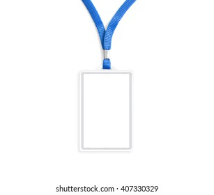 Blank bagde mockup isolated on white. Plain empty name tag mock up hanging on neck with string. Nametag with blue ribbon and transparent plastic paper holder. Badge  clipping path. Corporate design.
