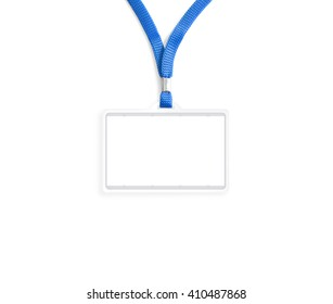 Blank bagde mockup isolated on white clipping path. Plain empty name tag mock up hanging on neck with string. Nametag with blue ribbon and transparent plastic paper holder. Corporate design.