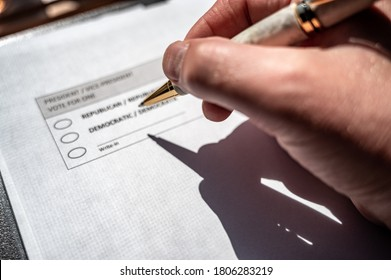 Blank ballot with a pen for president in the 2020 election