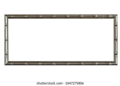 Blank bamboo wood photo frame isolated on white background