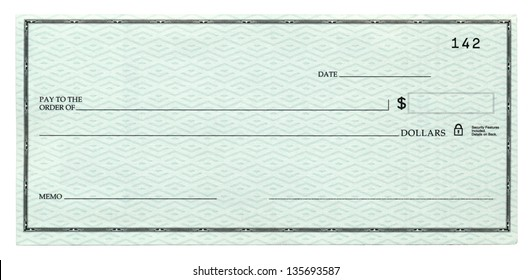 A blank banking check, Isolated on white.