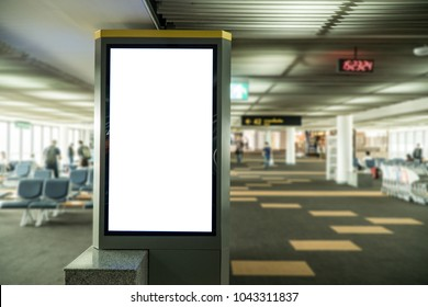 blank banner display in airport gate,sale and discount promotion information for announcement successful business marketing,poster mock up template,tilt shift focus