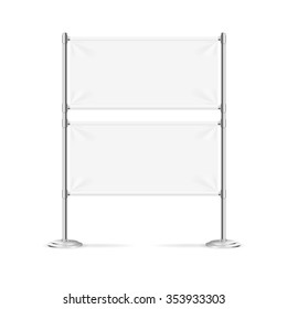 Blank Banner Flag White Horizontal. illustration