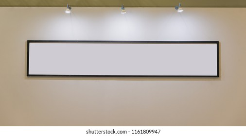 Blank banner frame with lighting blubs on the wall decoration concept copy space for text advertising