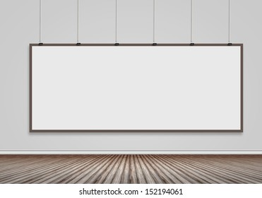 Blank banner hanging on wall. Place for text