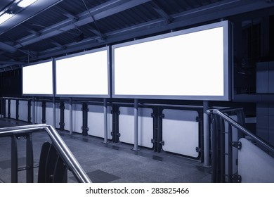 Blank Banner Neon box media Display horizontal Sign indoor in subway station perspective