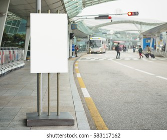 Blank Banner stand Outdoor Building Airport shuttle bus service