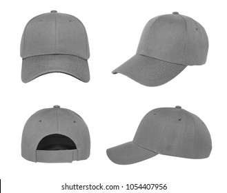 Blank baseball cap 4 view color grey on white background