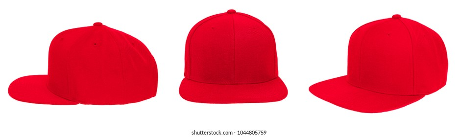 Blank baseball cap color red set view on white background