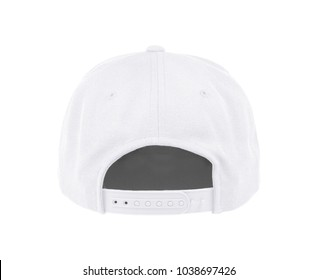 Blank baseball cap color white back view on white background