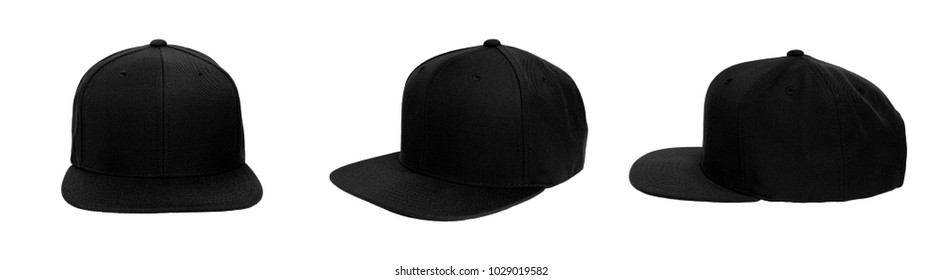 Blank baseball snap back cap color black on white background