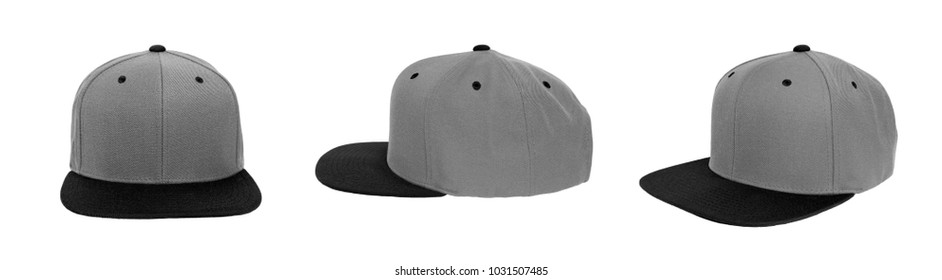 Blank baseball snap back cap color grey/black on white background