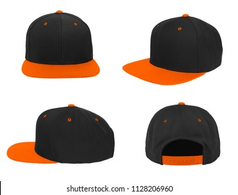 Blank baseball snap back cap two tone color black/orange on white background