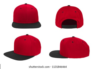 Blank baseball snap back cap two tone color red/black on white background