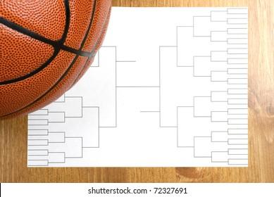 A blank basketball tournament bracket and a basketball