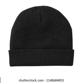 Blank beanie in black color in white background for mock up template isolated