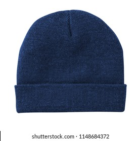 Blank beanie in blue color in white background for mockup template isolated