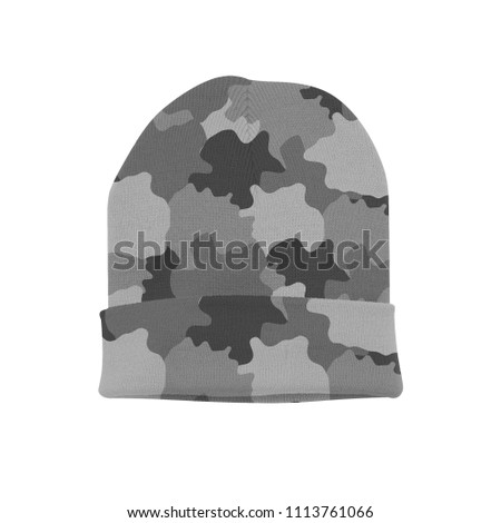 3c634ad98bd055 blank beanie camouflage print grey pattern on white background isolated for  mockup template