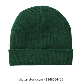 Blank beanie in green color in white background for mockup template isolated