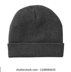 Blank beanie in grey color in white background for mockup template isolated