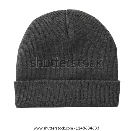 blank beanie grey color white background stock photo edit now