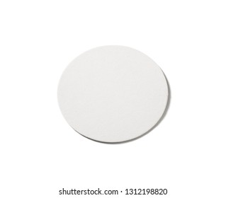 Blank beer coaster isolated on white background. Clipping path.