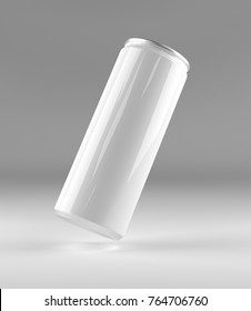 Blank beer, cola, soda aluminium can mockup on grey background. With place for your design and branding. 3D illustration