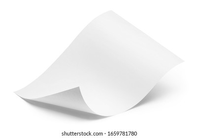 Blank bended paper sheet, isolated on white background