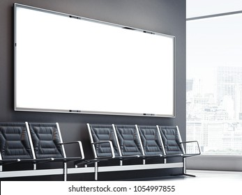 Blank big banner in bright waiting hall. 3d rendering