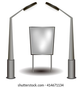 Blank big billboard. lantern. Mockup for your advertisement and design . illustration