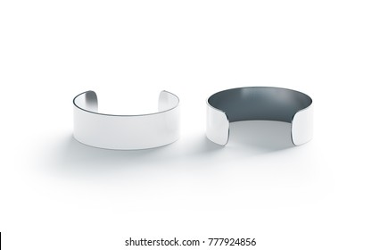 blank big white cuff bracelet mockup front and back side view 3d rendering
