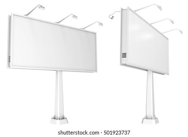Blank billboard. 3d image. Isolated on white.