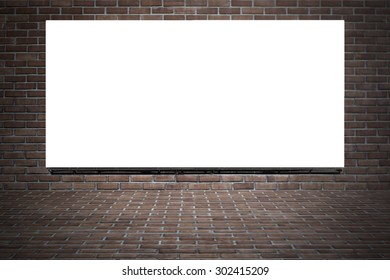 blank billboard for advertisement on brick wall background