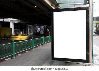 Blank Billboard advertisement in the street for advertising.