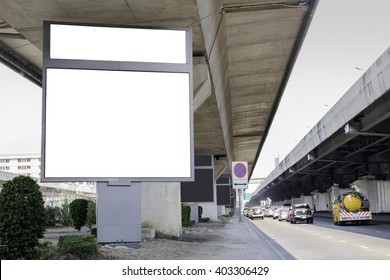 blank billboard for advertising along the road.