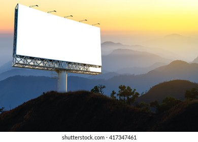 Blank billboard for advertising with forest background, advertising everywhere concept.
