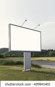 Blank billboard for advertising with forest background