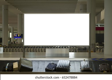Blank billboard or advertising poster in the airport for advertisement concept background.