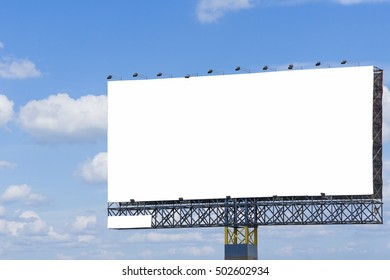 Blank billboard at blue sky background,