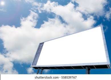 Blank billboard at blue sky background with analog clock