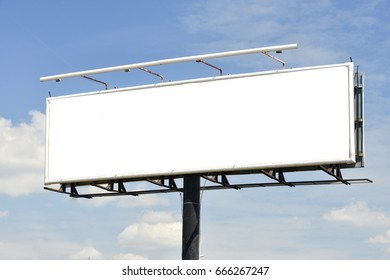Blank billboard at blue sky background, mock up