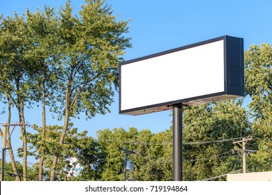 Blank billboard with blue sky background / with copy space
