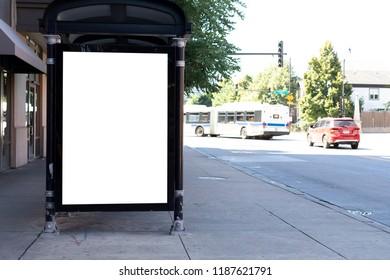 blank billboard at bus station