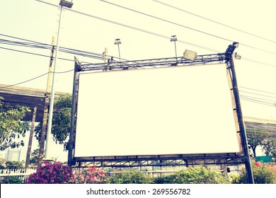 blank billboard in city