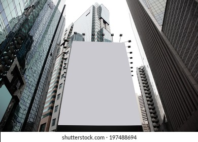 Blank billboard in a city with building background, asia, china, hong kong